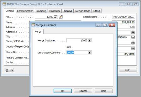 Merge Utility Addon for Microsoft Dynamic NAV helps you merge two customers.